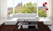 J&M 625 Contemporary Premium White Leather Upholstery Sectional Sofa