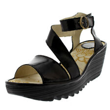 Womens Fly London Yesk Luxor Leather Patent Open Toe Wedge Heel Sandals UK 3-9
