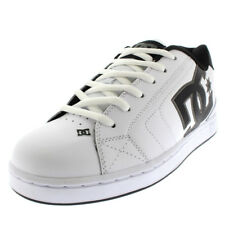 Mens DC Shoes Net Leather White Skate Shoe Low Top Lace Up Punk Trainers UK 7-13