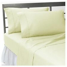 IVORY SOLID 1000 TC EGYPTIAN COTTON BED DUVET SET/FITTED SHEET/SHEET SET