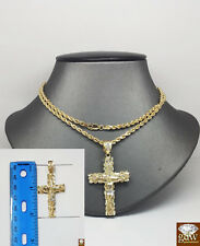 Pure Men's 10K Gold Rope Chain with Jesus Cross Charm Pendant, Franco, Figaro.