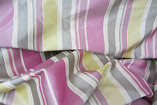 10 Metres Spice Isles pink & Green Striped Faux Silk Curtain/Craft Fabric