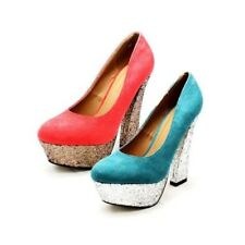 ladies suedette court shoes with silver glitter chunky high block heel