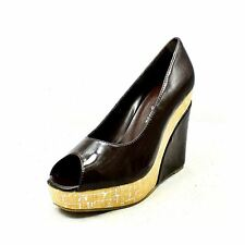 Brown Patent peep toe wedge heel court shoes