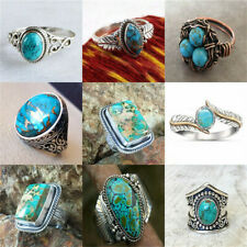925 Silver Natural Turquoise CZ Women Men Jewelry Wedding Engagement Ring Sz6-10
