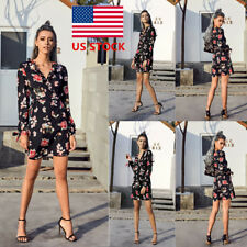 Women Floral Boho Style V Neck Party Dress Cocktail Casual Holiday Wrap Sundress