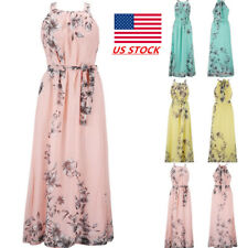 Womens Floral Sling Maxi Dress Party Evening Ball Gown Sleeveless Beach Sundress