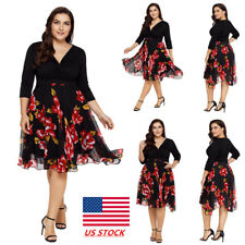 Plus Size Womens 3/4 Sleeve Floral Chiffon Cross V Neck Wrap Dress Party Dress