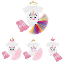 Unicorn Baby Girls First Birthday Romper Tutu Dress Tulle Skirt 4PCS Outfits Set