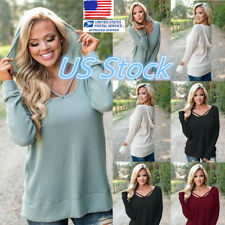 US Women Loose Long Sleeve Lace Up Knitted Blouse Top Shirts Chic Hooded Sweater