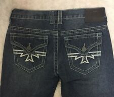 XTREME COUTURE AFFLICTION MENS JEANS CROSS DARK EMBROIDERED SIZE30,32