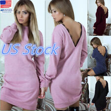 US Lady Casual Back Deep V Dresses Sexy Lace Decorated Club-wear Cocktail Dress