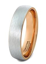 Mens Wedding Band Tungsten Ring 6mm Brushed Rose Gold Inside Dome Edge Comfort..
