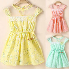 Lovely Baby Girls Lace Floral Princess Dress Party Summer Kids Tutu Dress S-XL