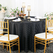 "Wedding Linens Inc. 120"" Round Striped Damask Polyester Tablecloths Table Covers"
