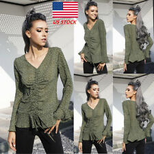 Womens Flared Long Sleeve V Neck Dot Party Blouse Drawstring Cocktail Casual Top