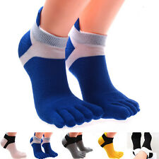 Mens Five Toe Finger Cotton Breathable Socks Sports Pure Trainer Running Socks *