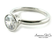 14K WHITE GOLD BEZEL SET DIAMOND ENGAGEMENT RING SOLITAIRE SETTING