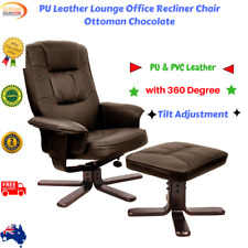 PU Leather Lounge Office Armchair Swivel Recliner Chair Couch Ottoman Chocolate