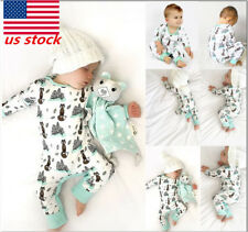 Newborn Baby Infant Boy Girl Animal Printed Long Sleeve Crew Neck Outfit Clothes