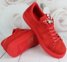 Womens Red Casual Sneakers Flat Lace Up Pumps Ladies Comfy Trainers Shoes Size