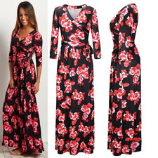 WOMENS LADIES FLARED STRETCH CASUAL BASIC LONG SLEEVE MAXI DRESS PLUS SIZE 8-20
