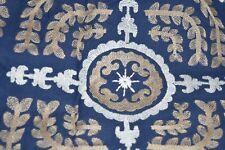 $139 NEW Pottery Barn HANUKKAH TABLE THROW Embroidered Navy White Gold 50 x 50