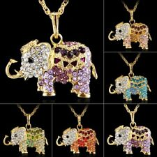 Crystal Rhinestone Cute Animal Elephant Pendant Necklace Long Sweater Chain Gift