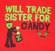 Frankenstein Halloween Will Trade Sister for Candy T Shirt  New Only 1 Available