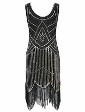 Women's 1920s Gatsby Retro Sequined Embellished Fringed Flapper Party Ball Dress