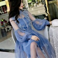 Women Lace Hollow Out Puff Sleeve Flower Dress Vintage Mesh Elegant Fairy Lolita