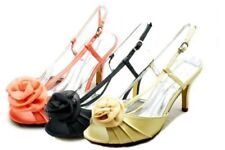 Luxury satin high heel rosette toe bridesmaid / party shoes