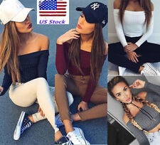 US Women Slim Off-shoulder Knitted Crop Top Sexy Bodycon Blouse T-shirt Pullover