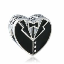 Solid sterling silver Charm Enamel Heart Beads Our Special Day Heart Charms