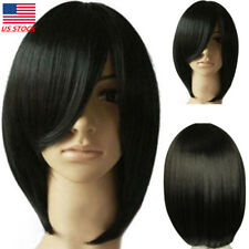 Synthetic Black Wigs Mid Long Straight Bangs Wigs Heat Resistant Wig Cosplay