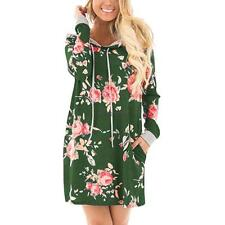 Women Fashion Hooded Long Sleeve Floral Print Pullover Hoodie Dress FPAW 01