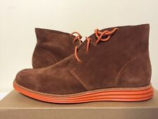 Cole Haan Lunargrand Chukka Brown Suede Orange Women's Lace Up Flats Ankle Boots