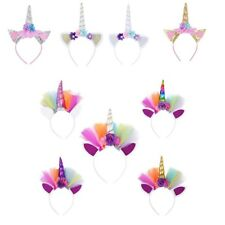 Kids Baby Girls Flower Cat Ears Unicorn Cosplay Hair Hoop Party Costume Headband