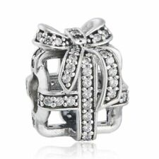 Solid Sterling Silver Clear CZ Pave Bow Openwork Gift Box Charms Fit Bracelet