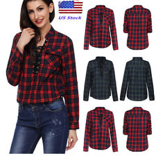 US Women V-neck Long Sleeves Lace Up Plaids Tops  Blouse T-shirts Pullover Tees