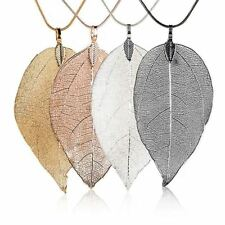 New Pink Women Special Leaves Leaf Sweater Pendant Necklace Ladies Long Chain Je