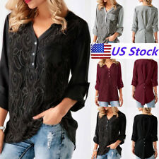 Lady 3/4 Sleeves V-neck Blouse Casual Loose Blouse Tops Plus Size T-shirt Tee US
