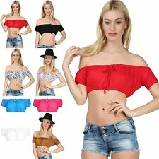 Womens Ladies Ruched Bardot Off The Shoulder Knot Front Bralet Bandeau Crop Top