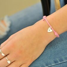 Pink Friendship bracelet sterling silver personalised  heart charm gift