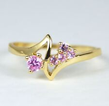 Women's 18 Carat Gold plated Pink Cubic Zirconium Ring Jewellery
