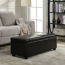 Elegant Faux Leather Solid Rectangular Storage Ottoman Bench Footrest Large