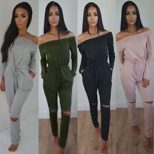 Lady Sexy Long Sleeve Off-shoulder Jumpsuit Playsuit Long Pants Bodycon Trousers