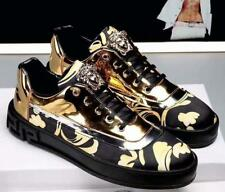 New Style Men's Leather Fashion Sneaker Low-Up Gold Carve Casual Black Shoes