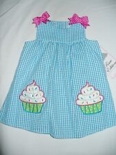 Rare Editions Blue Seersucker Cupcake Dress Baby Toddler Girls Summer Birthday