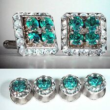 BLUE ZIRCON SQUARE CUFFLINKS & ROUND STUDS SET MADE WITH SWAROVSKI CRYSTALS